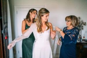 simple wedding dress with long sheer sleeves