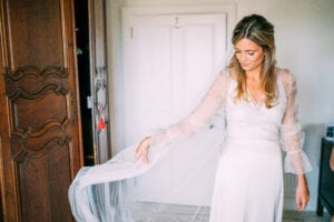 simple wedding dress with long sheer sleeves