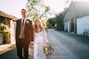 classic silk wedding dress with sleeves