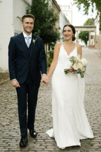 simple modern strappy wedding dress with low back