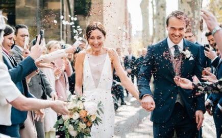 simple modern strappy wedding dress
