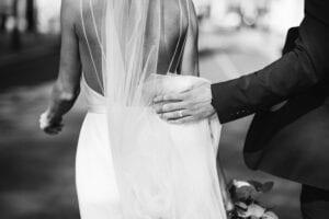 strappy back wedding dress