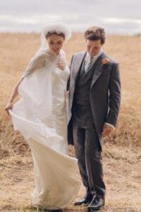 modern bridal cape