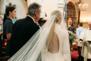 long lace edge veil with blusher
