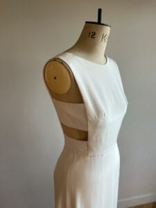 modern contemporary simple silk wedding dress with low back and split