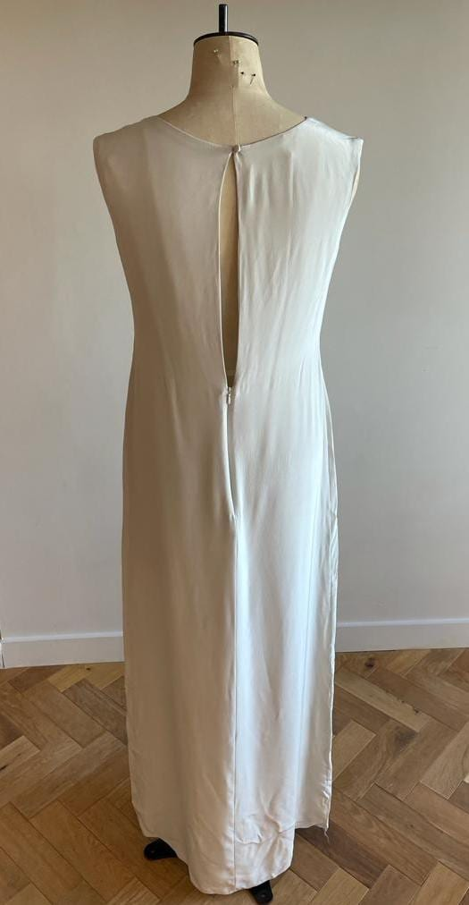 Simple silk high neck wedding dress