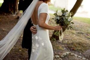low back simple wedding dress