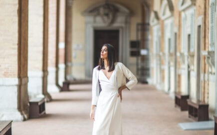 simple modern silk wedding dress with wrap style skirt