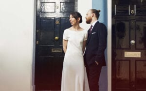 boat neck simple wedding dress