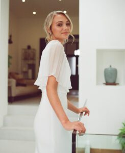 low back wedding dress with sleeves