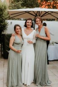 simple v neck wedding dress green bridesmaids dresses